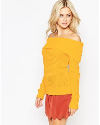 Fashion Union - Yellow Off Shoulder Waffle Knit Jumper - Lyst