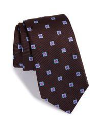 Ike Behar - Brown 'twill Ground Neat' Medallion Silk Tie for Men - Lyst