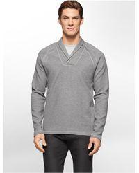 Calvin Klein - Gray White Label Shawl Collar Sweater - Lyst