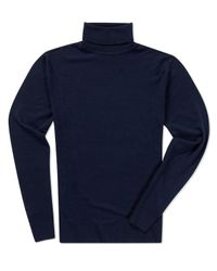 Sunspel - Black Men's Fine Merino Roll Neck Jumper for Men - Lyst