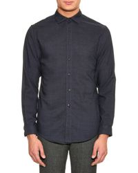 Cerruti 1881 Blue Point-collar Wool Shirt for men