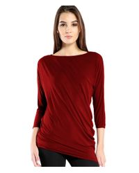 Michael Stars | Red Lycra 3/4 Sleeve Tee With Side Drape Detail | Lyst