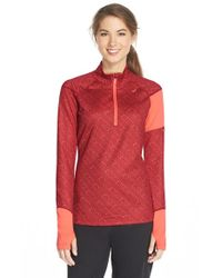 Asics | Red 'thermostripe' Print Half Zip Jacket | Lyst