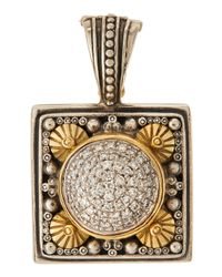 Konstantino | Metallic Square Pavé Diamond Pendant Enhancer | Lyst