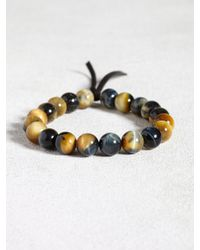 John Varvatos | Brown Natural Tigers Eye Bracelet With Leather Detail for Men | Lyst