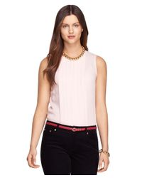 Brooks Brothers | Pink Sleeveless Silk Blouse | Lyst