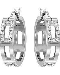 Swarovski - Metallic Cubist Hoop Pierced Earrings - Lyst