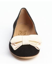 Ferragamo - Black and Rose Suede Rubia Bow Tie Detail Flats - Lyst