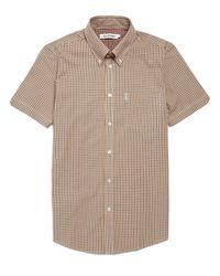 Ben Sherman Gray Mini Mod Check Short Sleeve Shirt for men