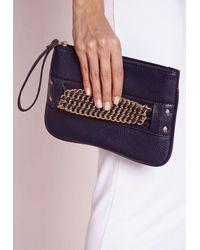 Missguided | Black Chain Strap Mini Grab Bag Navy | Lyst