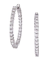 Roberto Coin | Metallic Diamond And 18k White Gold Hoop Earrings, 1in | Lyst