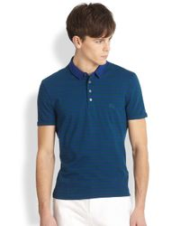 Burberry Brit - Blue Berner Striped Polo Shirt for Men - Lyst