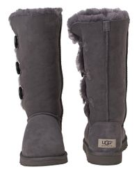 UGG - Gray Bailey Button Triplet Boot Grey Suede - Lyst