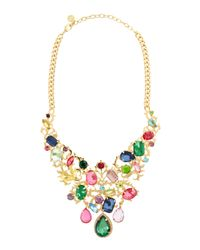 R.j. Graziano - Multicolor Scrollwork Multi Crystal Bib Necklace - Lyst