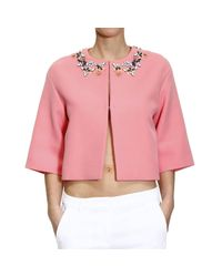 Emilio Pucci - Pink Jacket 3/4 Sleeve Collarless With Stones - Lyst