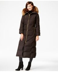 Calvin Klein   Brown Hooded Faux-fur-trim Down Puffer Maxi Coat   Lyst