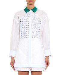 Alexander Wang White Chalk Pinstripe Shirt Dress