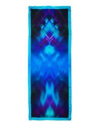 Giorgio Armani - Blue Pixelated Ikat Silk Stole - Lyst