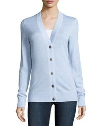 Tory Burch | Blue Simone Button-front Wool Cardigan | Lyst
