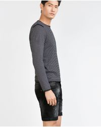 Zara   Black Denim Shorts for Men   Lyst