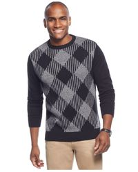 Geoffrey Beene | Black Diamond Print Crewneck Sweater for Men | Lyst