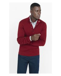 Express | Red Snap-up Mock Neck Sweater for Men | Lyst