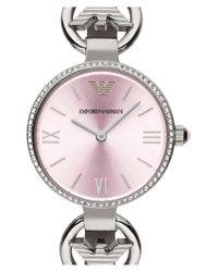 Emporio Armani - Metallic Crystal Bezel Lizard Strap Watch - Lyst