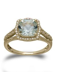 Lord & Taylor | 14kt. Yellow Gold Green Amethyst And Diamond Ring | Lyst