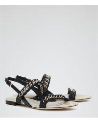 Reiss | Black Chiara Chain-detail Leather Sandals | Lyst