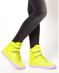Supra Society Fluro Yellow High Top Trainers