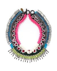 Venna | Multicolor Crystal Spike Chain Necklace | Lyst