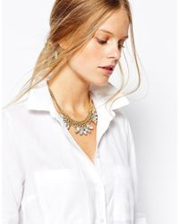 Pieces - Metallic Riamo Crystal Chain Necklace - Lyst