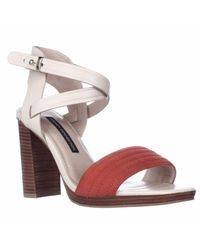 French Connection Red Tola Ankle Strap Stacked Heel Sandals