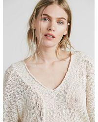 Free People | White Womens Slubby Poncho Sweater | Lyst