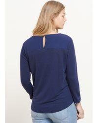 Violeta by Mango | Blue Trim Linen T-shirt | Lyst