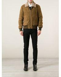 Saint Laurent - Brown Aviator Jacket for Men - Lyst