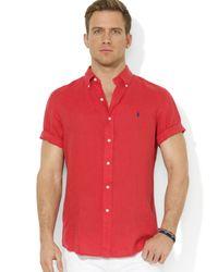 Ralph Lauren Red Polo Button Down Short Sleeve Sport Shirt  for men