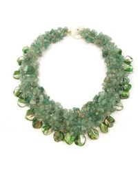 Aeravida | Green Aventurine And Seashells Cluster Stone Toggle Necklace | Lyst