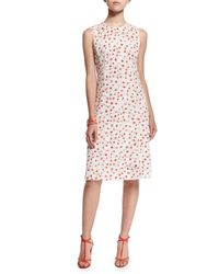 Oscar de la Renta - Multicolor Sleeveless A-line Dot-print Silk Dress - Lyst