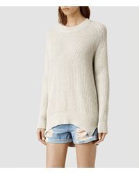 AllSaints - Natural Quinta Cotton Sweater - Lyst