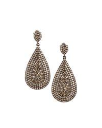 Bavna | Metallic Pave Diamond Teardrop Earrings | Lyst