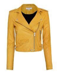 IRO Ashville Biker Leather Jacket: Yellow