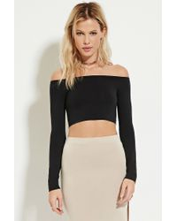 6077a2a0717cf4 Lyst - Forever 21 Off-the-shoulder Crop Top in Black