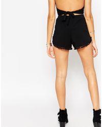 ASOS | Black Petite Jersey Shorts With Pom Pom Hem | Lyst