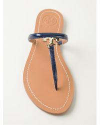 Tory Burch Blue T-Bar Logo Sandals