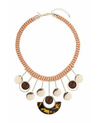 TOPSHOP - Brown Cord And Circle Drop Necklace - Lyst