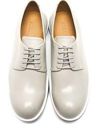 Jil Sander Gray Grey Buffed Leather Derby Shoes