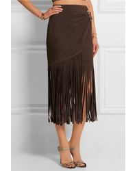 Tamara Mellon Brown Fringed Suede Wrap Skirt
