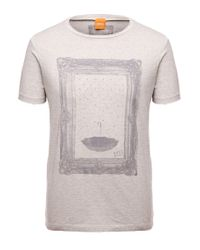 BOSS Orange | Natural T-shirt 'taneo 1' With A Round Neckline for Men | Lyst