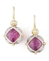 Konstantino - Purple 18k Gold Silver Rubyquartz Drop Earrings - Lyst